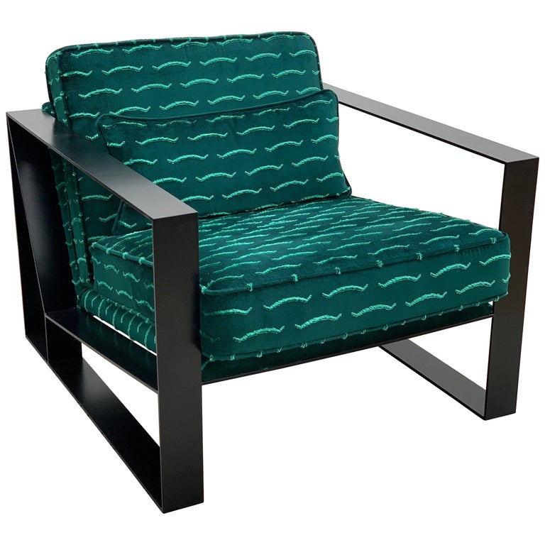 Modern Industrial Cronos I Armchair in Steel Powder Coated and Velvet For Sale