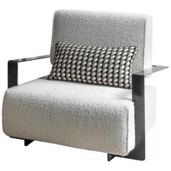 Modern Industrial Cronos II Armchair in Steel Structure and Luxe Bouclé