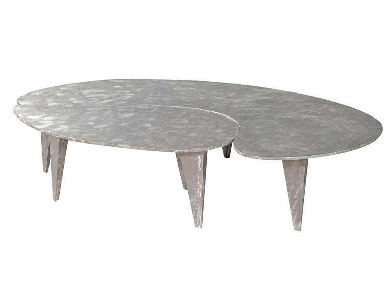 Modern Industrial Design Steel Two Piece Coffee Table Set For Sale 4
