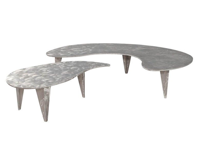 Modern Industrial Design Steel Two Piece Coffee Table Set For Sale 5