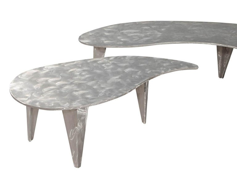 Modern Industrial Design Steel Two Piece Coffee Table Set For Sale 6