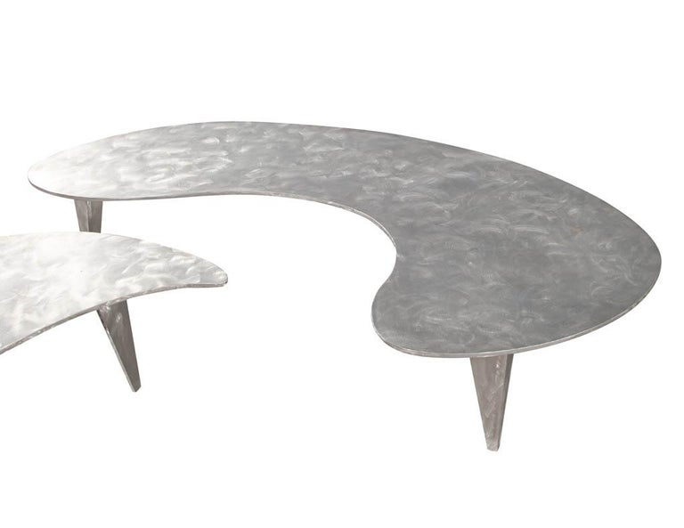 Modern Industrial Design Steel Two Piece Coffee Table Set For Sale 7