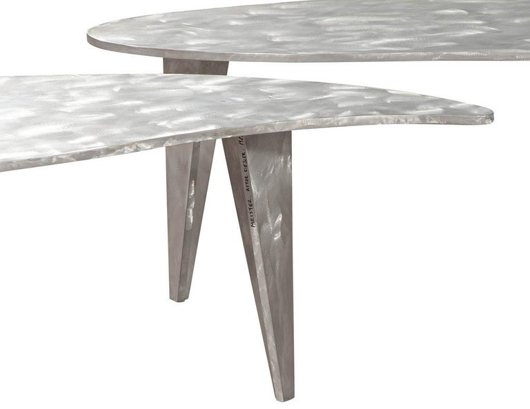 Modern Industrial Design Steel Two Piece Coffee Table Set For Sale 8