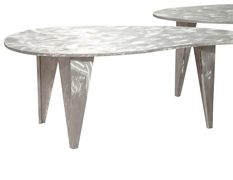 Modern Industrial Design Steel Two Piece Coffee Table Set For Sale 10