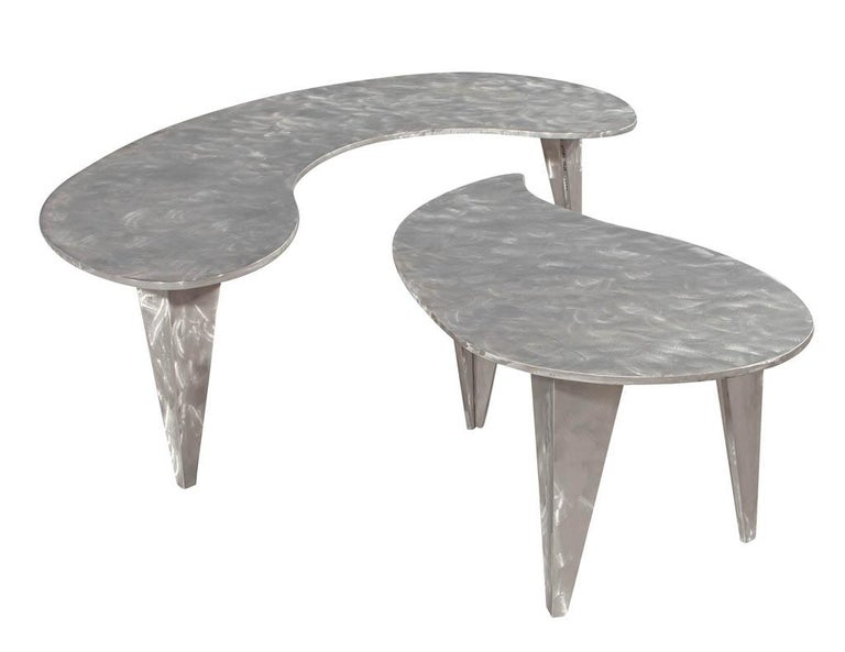 Modern Industrial Design Steel Two Piece Coffee Table Set For Sale 11