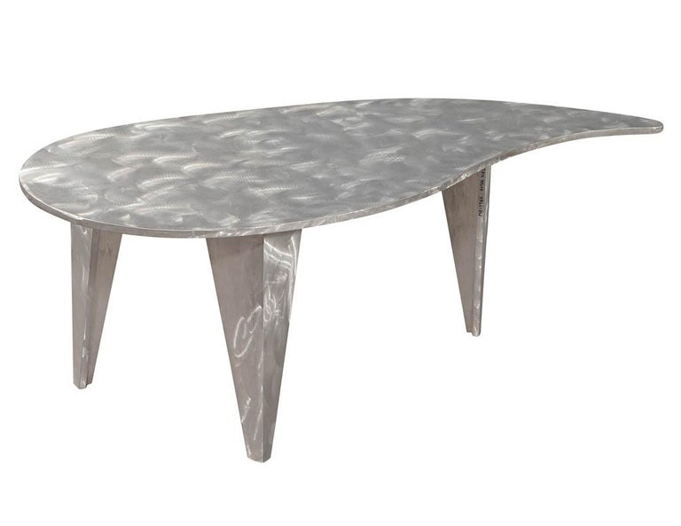 American Modern Industrial Design Steel Two Piece Coffee Table Set For Sale