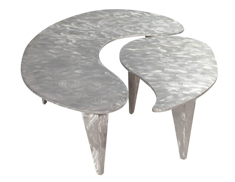 Modern Industrial Design Steel Two Piece Coffee Table Set In Good Condition For Sale In North York, ON