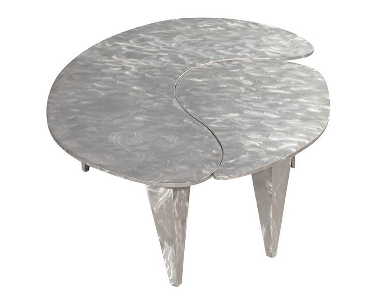 Late 20th Century Modern Industrial Design Steel Two Piece Coffee Table Set For Sale