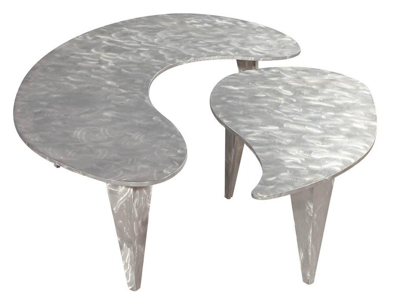 Metal Modern Industrial Design Steel Two Piece Coffee Table Set For Sale