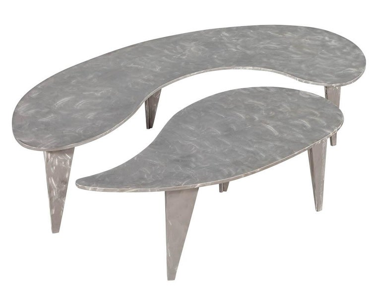Modern Industrial Design Steel Two Piece Coffee Table Set For Sale 1