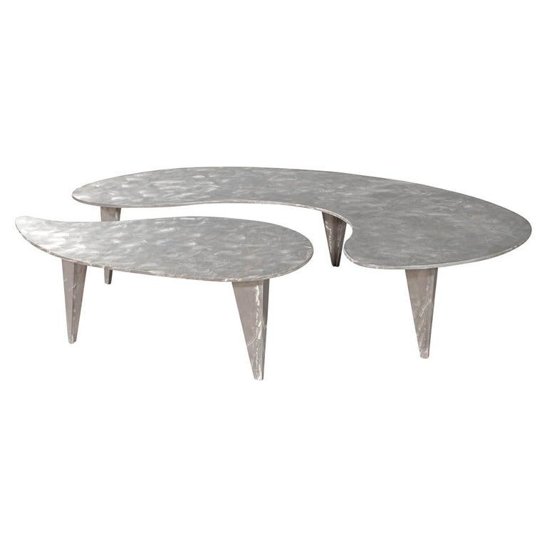 Modern Industrial Design Steel Two Piece Coffee Table Set For Sale