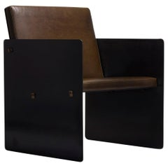Modern Industrial Green Leather Metal Club Chair