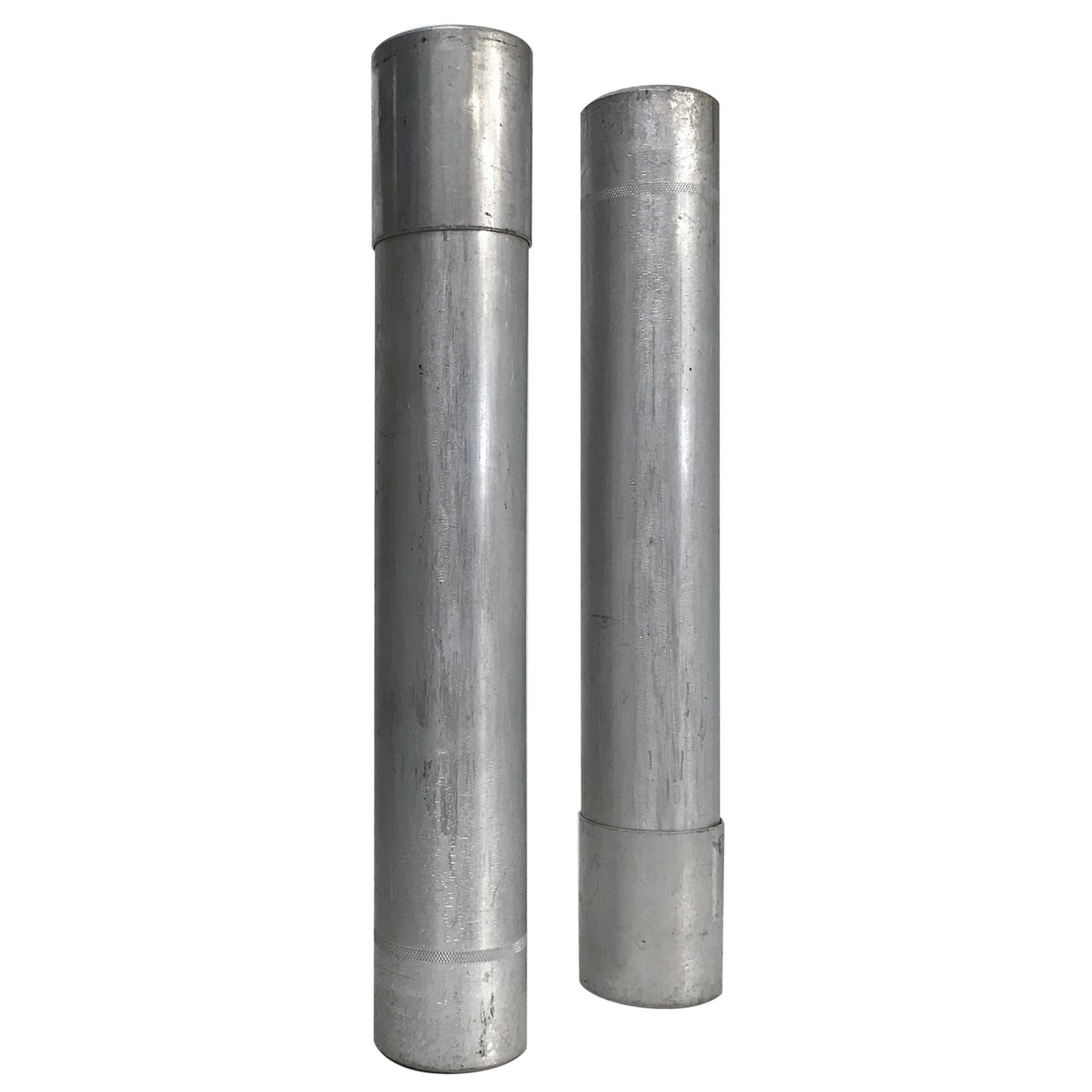 Modern Industrial Salvaged Architecture Set of Two Aluminum Tubes 1970s