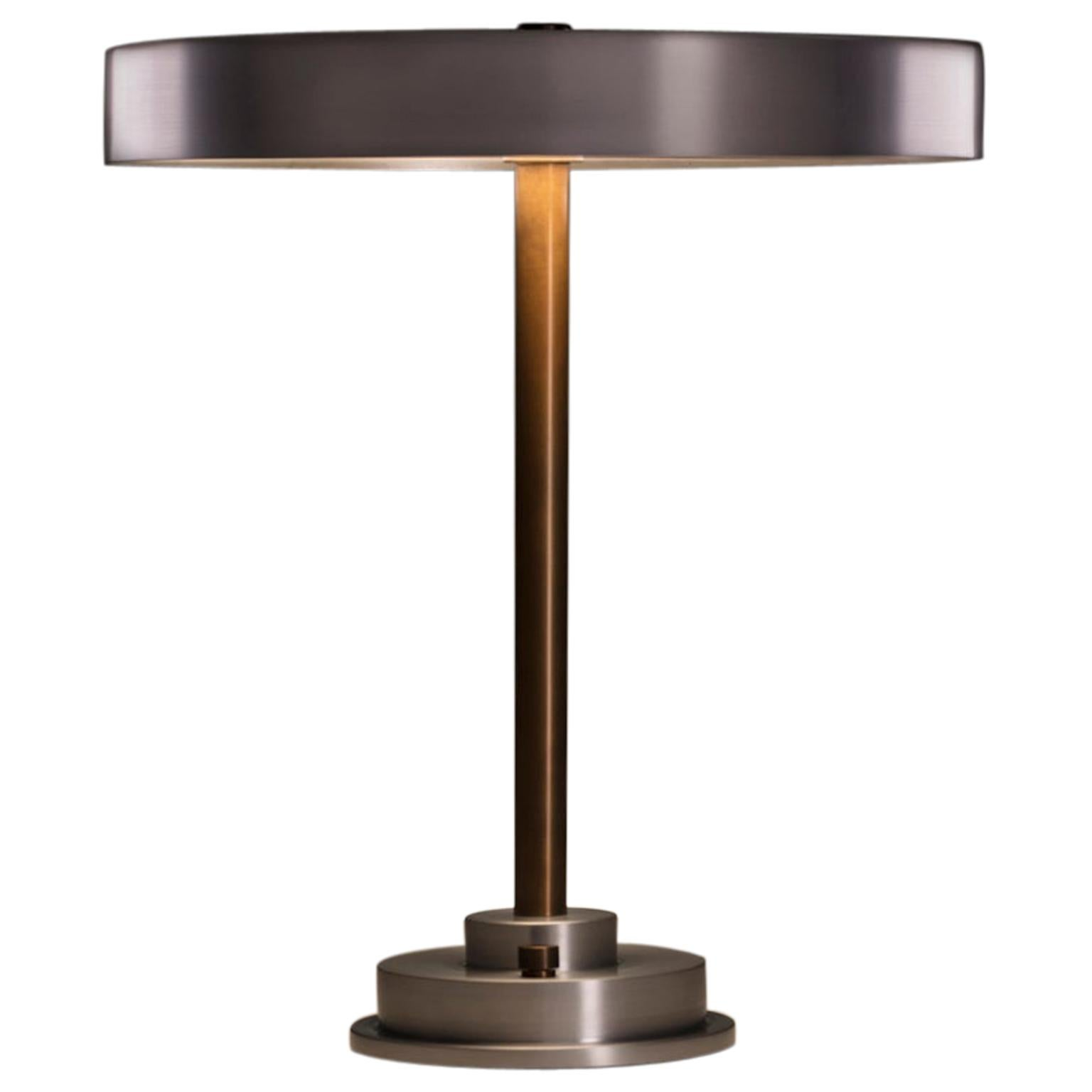 Modern Industrial Table Lamp with Burnished Aluminum Shade and Brass Hardware