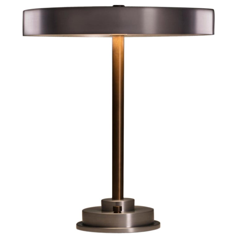 Modern Industrial Table Lamp with Burnished Aluminum Shade and Brass Hardware For Sale