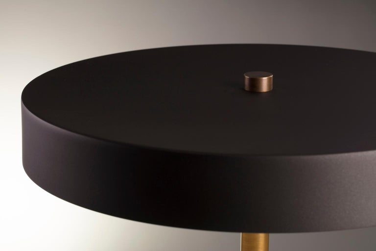 Post-Modern Modern Industrial Table Lamp with Matte Black Aluminum Shade and Brass Hardware