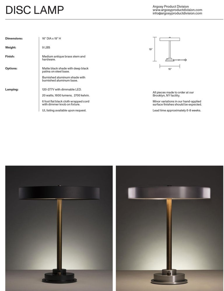 Blackened Modern Industrial Table Lamp with Matte Black Aluminum Shade and Brass Hardware
