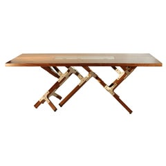 Modern Industrial Walnut Top Dining Table by Peter Harrison Made to Order