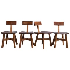Modern Industry Minimalist Dining Chair in Walnut