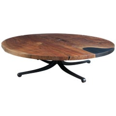 Modern Industry Serif Series Coffee Table in Single Slab Walnut