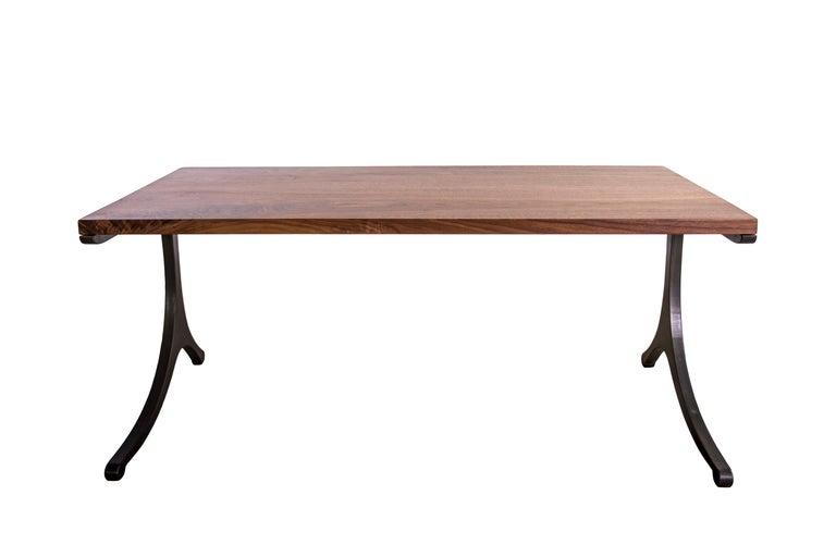 American Modern Industry Serif Series Desk in Walnut and Oxidized Steel Wishbone Legs For Sale
