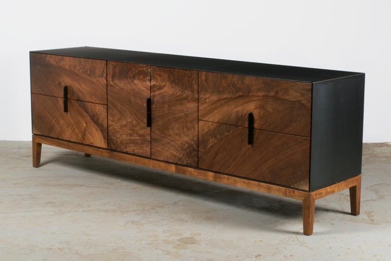 American Modern Industry Taper Series Media Console with Doors and Drawers