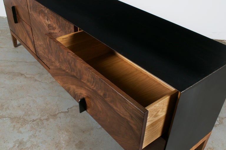Modern Industry Taper Series Media Console with Doors and Drawers In New Condition In Downers Grove, IL