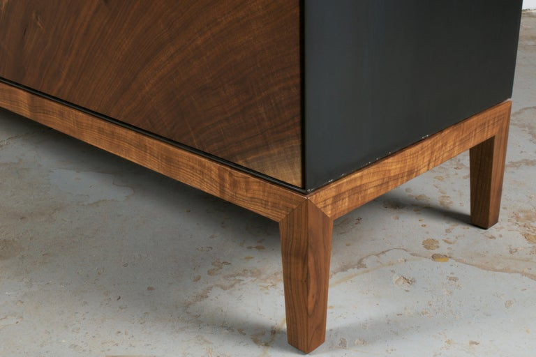 Contemporary Modern Industry Taper Series Media Console with Doors and Drawers