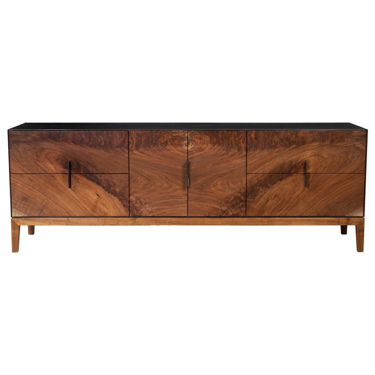 Modern Industry Taper Series Media Console with Doors and Drawers