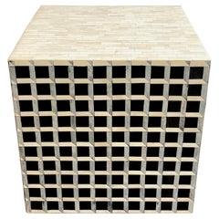 Modern Inlaid Bone & Ebony Op Art Geometric Cube Table