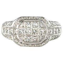 Modern Invisible Setting 2 Carat Princess and Brillant Cut Diamond Ring