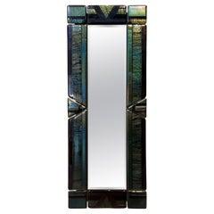 Modern Iridescent Art Glass Tile Mirror