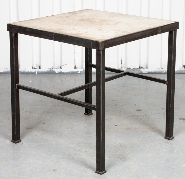 Unknown Modern Iron and Cast Stone Side Table For Sale
