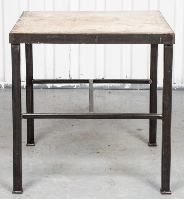Modern Iron and Cast Stone Side Table In Good Condition For Sale In New York, NY