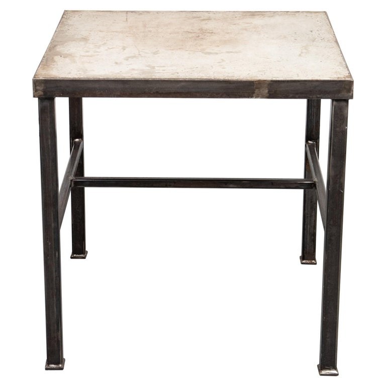 Modern Iron and Cast Stone Side Table For Sale