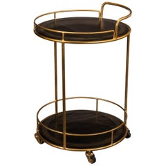 Modern Iron and Leather Serving Side Table Cart
