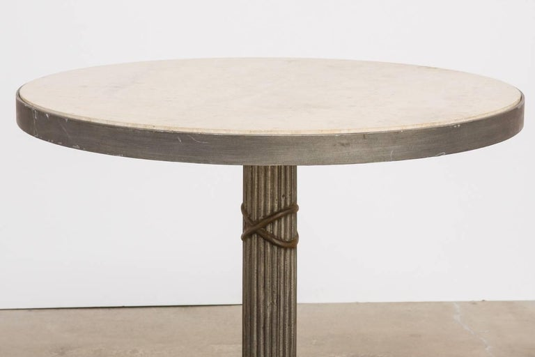 Modern Iron and Travertine Limestone Centre or Pub Table For Sale 6