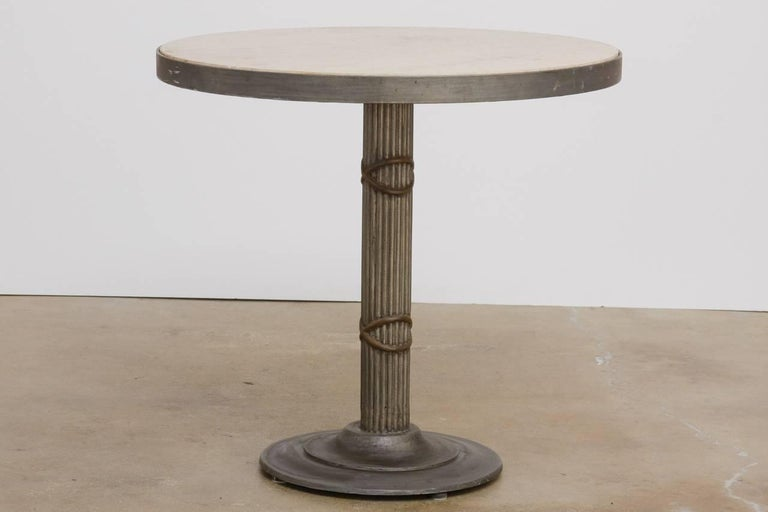 American Modern Iron and Travertine Limestone Centre or Pub Table For Sale