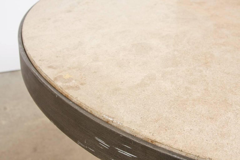 Modern Iron and Travertine Limestone Centre or Pub Table In Good Condition For Sale In Oakland, CA