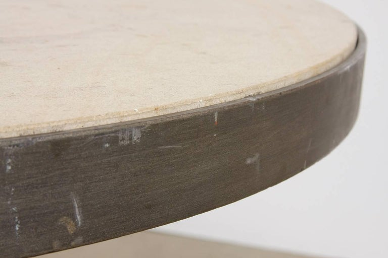 20th Century Modern Iron and Travertine Limestone Centre or Pub Table For Sale