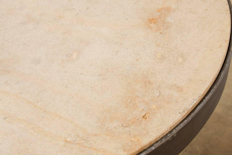 Modern Iron and Travertine Limestone Centre or Pub Table For Sale 4