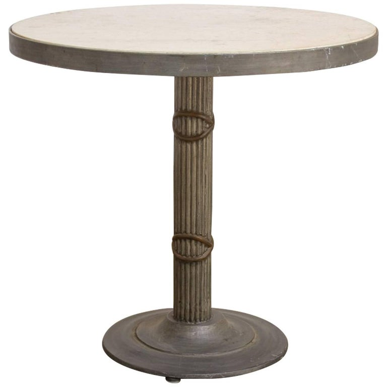 Modern Iron and Travertine Limestone Centre or Pub Table For Sale