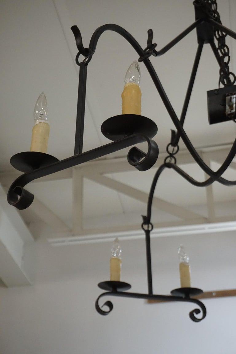 Contemporary Modern Iron Chandelier For Sale