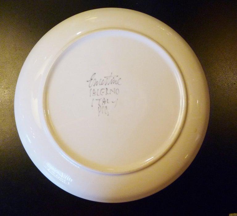 Modern Italian 10 Dinner Plates Chrysanthemum Design by Ernestine Ceramiche 1960 For Sale 3
