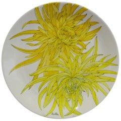 Modern Italian 10 Dinner Plates Chrysanthemum Design by Ernestine Ceramiche 1960