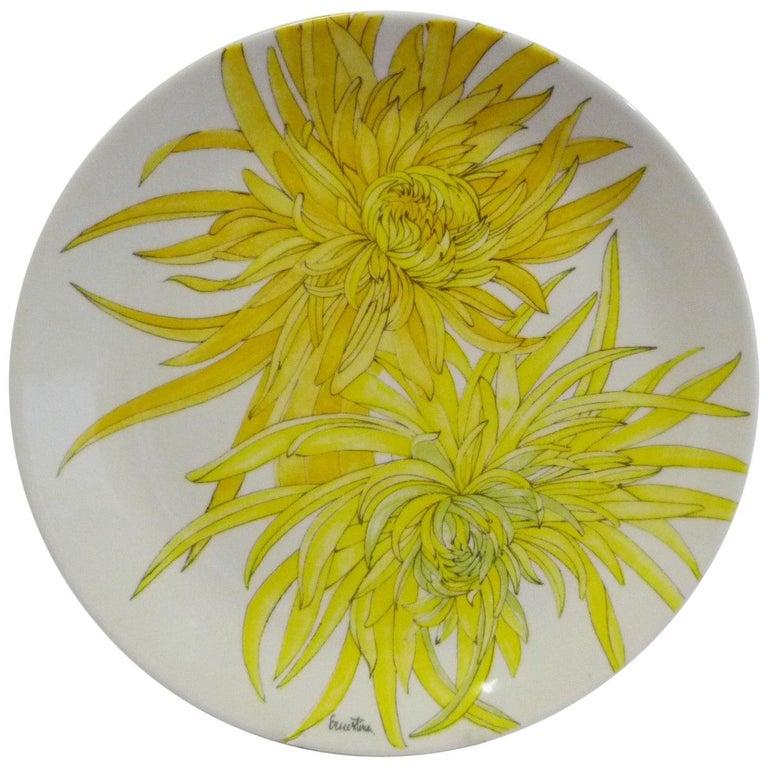 Modern Italian 10 Dinner Plates Chrysanthemum Design by Ernestine Ceramiche 1960 For Sale