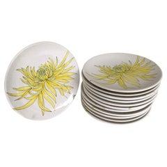 Modern Italian 12 Plates Chrysanthemum Design by Ernestine Ceramiche, 1960