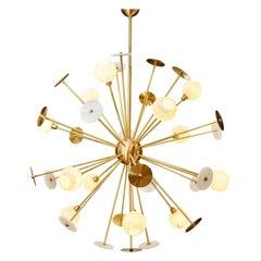 Modern Italian Alabaster Satin Brass Space Age Style 12-Light Sputnik Chandelier