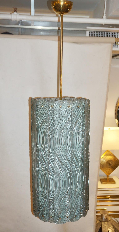 Modern Italian Aquamarine Crystal Murano Glass Tall Brass Lantern / Chandelier For Sale 5
