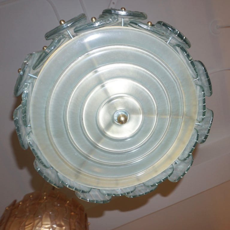 Modern Italian Aquamarine Crystal Murano Glass Tall Brass Lantern / Chandelier In New Condition For Sale In New York, NY